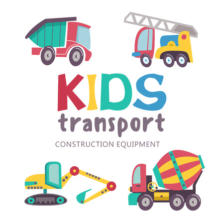 Children's transport collection. Vector illustration. Isolated on white background. A large set of trucks.