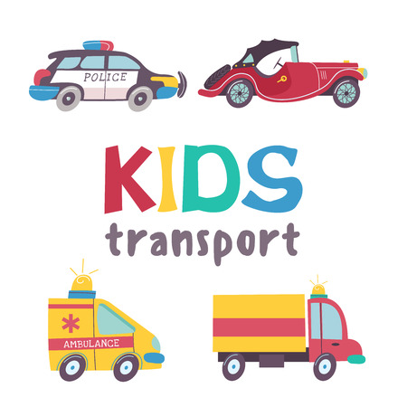 Children's transport collection. Vector illustration. Isolated on white background. A large set of road transport. Vectores