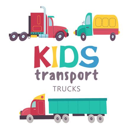 Colección de transporte infantil. Ilustracion vectorial Aislado en el fondo blanco Un gran conjunto de camiones. Foto de archivo - 94031971