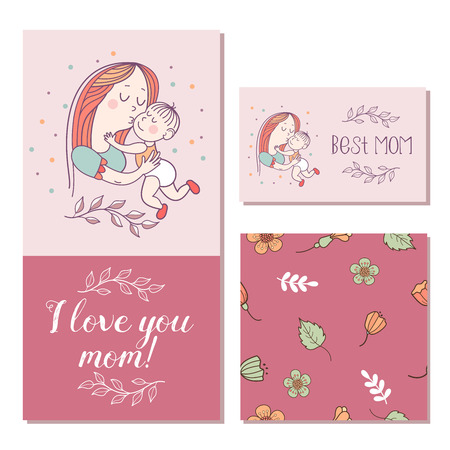 Greeting card mother's day. The best mom. A pretty mother holds cute baby. Linear illustration. Vector emblem. Floral seamless pattern.