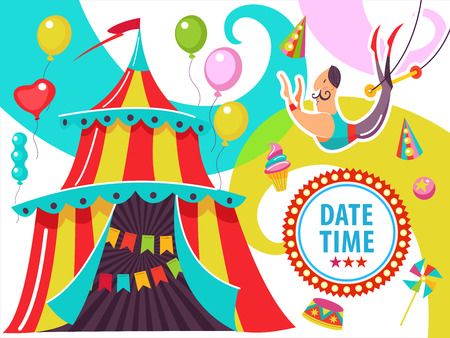 Circus. The circus poster, invitation, flyer. Vector illustration. Circus performance. The courageous air acrobat on a trapeze. Bright striped tent. Illustration