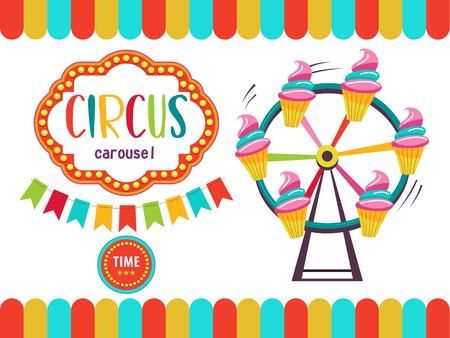 Circus. The circus poster, invitation, flyer. Vector illustration. Circus performance. Amusement park. Carousel of cakes. Иллюстрация