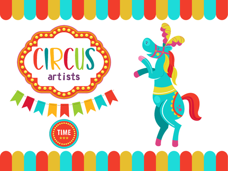Circus. The circus poster, invitation, flyer. Vector illustration. Circus performance. A trained circus horse.