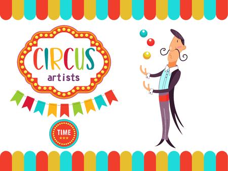 Zirkus. Das Zirkusplakat, Einladung, Flyer. Vektor-illustration Zirkusvorstellung. Jongleur mit farbigen Kugeln.