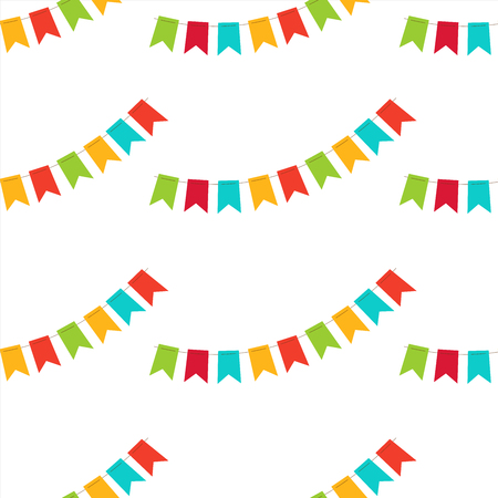 Vector seamless pattern. Colorful festive flags. Pattern for textiles, paper, wallpaper. Illustration