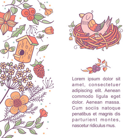 The bird sits in the nest. Illustration with spring flowers, leaves and branches. There is a place for text. Vector clip-art. Isolated on a white background.