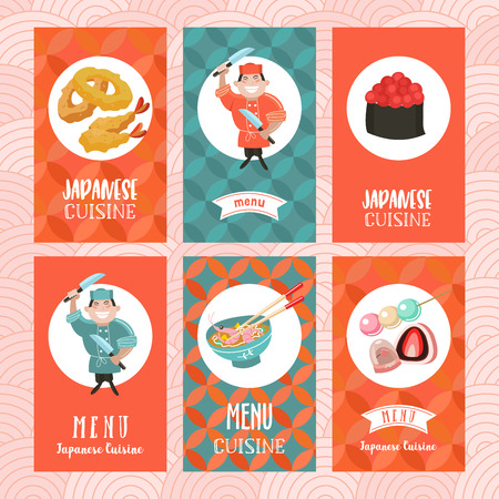 Japanese cuisine. Set of vector cards. Japanese chef with two knives. Tempura roll with caviar, sweets, noodles, tea to the backdrop of traditional pattern.