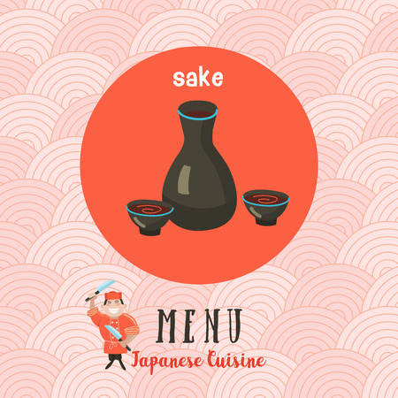 Japanese cuisine. Templates menus Japanese restaurant. Sake on the background of traditional pattern. Vector illustration.