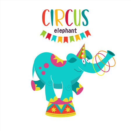Circus artist. Circus animals. A trained circus elephant juggler. Elephant juggling hoops standing on a pedestal. Vector illustration. Isolated on a white background.