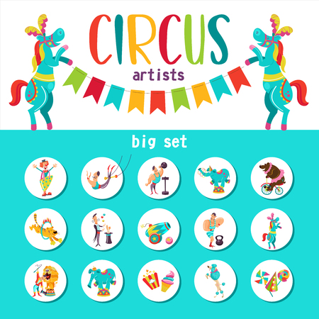 Circus artist. Circus animals. Big collection of cliparts with circus artists. The round emblem, stickers. 向量圖像