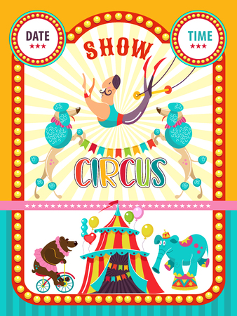 Circus artist. Circus animals. Poster of a circus show. Vector clipart. Circus trained elephant and a bear on a Bicycle, I invite you to the circus. In the program, performing poodles and aerial acrobat. Çizim