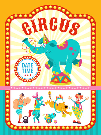 Circus artist. Circus animals. Poster of a circus show. Vector clipart. An invitation to a circus show. A trained circus elephant juggling hoops. The program shows a funny clown, a lion, a tiger jumping through a ring of fire, the horse, the strong man. Stock fotó - 95366429