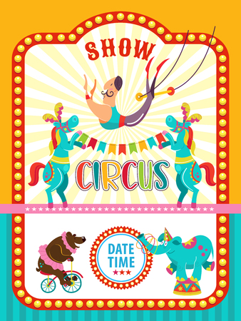 Circus artist. Circus animals. Poster of a circus show. Vector clipart. An invitation to a circus show. The program trained bear on bike, elephant juggler, a horse, a trapeze artist.