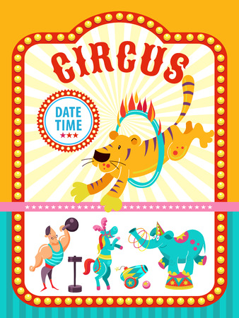 Circus artist. Circus animals. Poster of a circus show. Vector clipart. An invitation to a circus show. In the program tiger jumping through a ring of fire, a mighty man, a trained horse, elephant juggler.