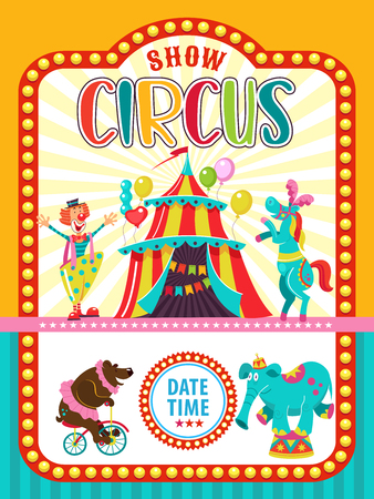 Circus artist. Circus animals. Poster of a circus show. Vector clipart. Circus horse and clown invite you to the circus. In the program bear on the bike and the elephant. Иллюстрация