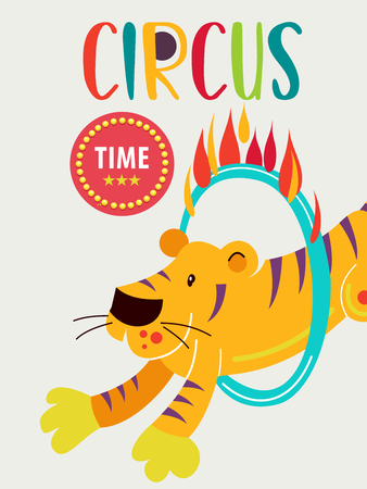 Circus artist. Circus animals. Poster of a circus show. Vector clipart. An invitation to a circus show. The highlight of tiger jumping through a ring of fire. Illustration