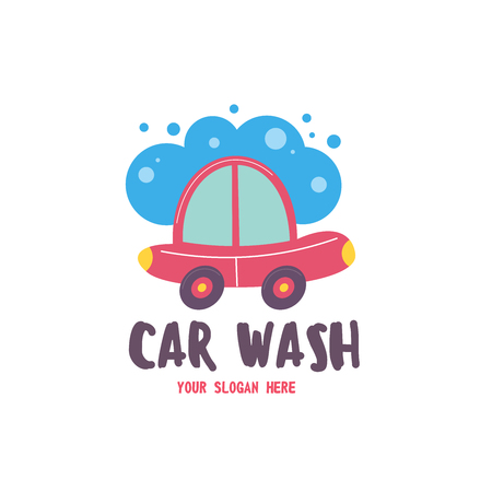 Car wash emblem. Vector illustration in cartoon style. Small passenger car in the bubbles of foam and drops of water on the wash.
