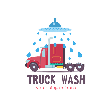 Emblem truck car wash. Vector illustration in cartoon style. The truck in the water droplets  on the wash.