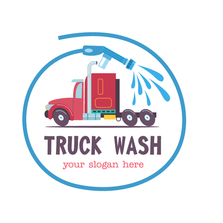 Emblem truck car wash.Vector illustration in cartoon style. The truck at the car wash, the emblem in the circle formed by the hose with water.