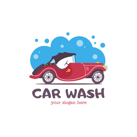 Car wash emblem. Vector illustration in cartoon style. Small passenger retro car in the bubbles of foam and drops of water on the wash.
