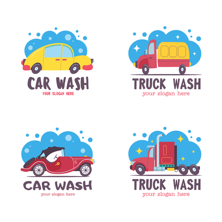Set of emblems of a car wash. Vector illustration in cartoon style. The car in foam and water droplets.