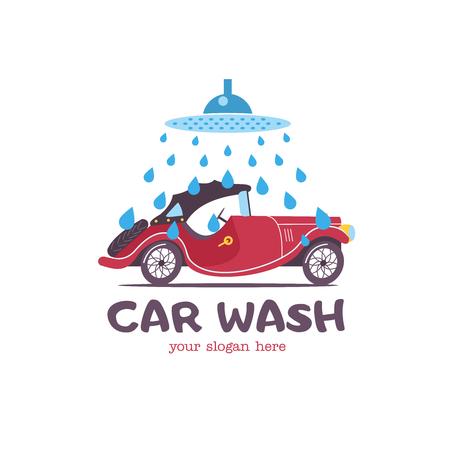 Car wash emblem. Vector illustration in cartoon style. Small passenger retro car in the  drops of water on the wash. Vettoriali
