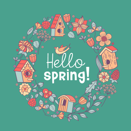 Cute spring illustration. A wreath of flowers, leaves and birdhouses. The inscription Hello, spring!