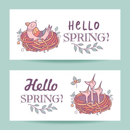 Spring cards illustrations