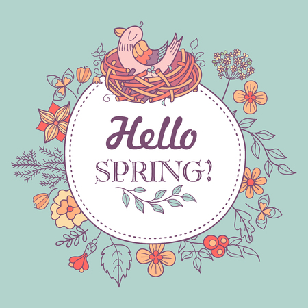 Cute spring illustration with wreath of flowers and leaves and Bird nest with young birds and inscription of Hello, spring!