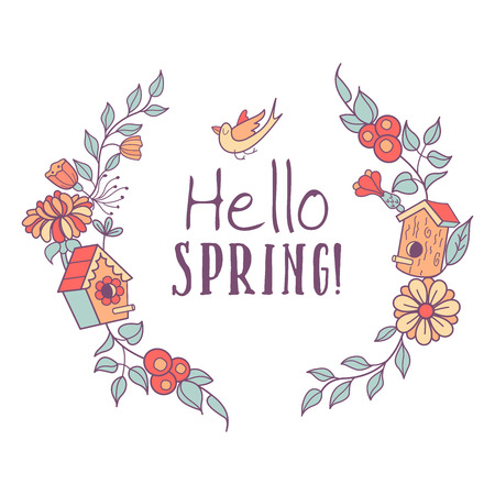 Hello, spring! Vector illustration. A wreath of spring flowers, branches and bird nesting boxes. Spring greeting card. Isolated on a white background. Illustration