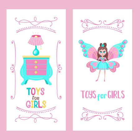 Toys for little princesses. Set of vector cliparts. Beautiful girl in beautiful dress with butterfly wings.  Toy chest of drawers and lamp. Childrens furniture.