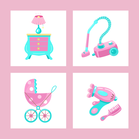 Toys for little princesses. Set of vector cliparts. Childrens furniture, lamp, vacuum cleaner, stroller, Hairdryer, comb.