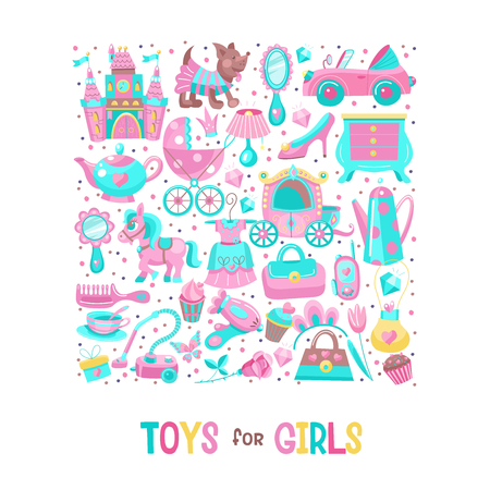Toys for little princesses. Big set of vector images collected in the form of a square. Childrens toy.