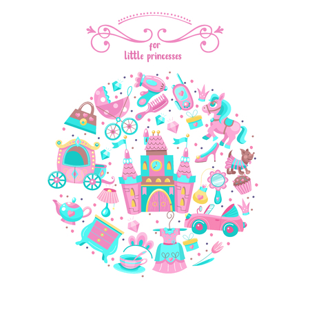 Toys for little princesses. Big set of vector images collected in the form of a circle. Childrens toy.