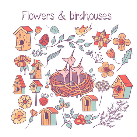 A large set spring clipart. The Chicks in the nest, spring flowers, leaves, branches, birdhouses. Isolated on a white background.
