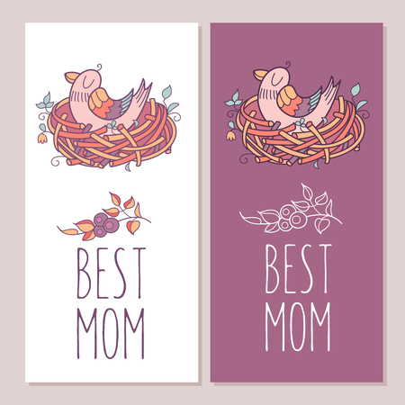 Greeting cards for mothers day. The best mom. Mama bird sits in the nest. Vector illustration. Illustration