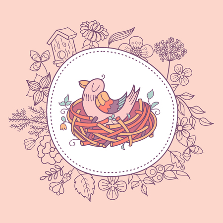 The bird sits in the nest. Illustration with spring flowers, leaves and branches. There is a place for text. Vector clipart. Isolated on a white background.  イラスト・ベクター素材