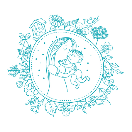The mother and her child. Linear vector illustration. Floral wreath of herbs and flowers. Logo of a happy motherhood and childhood. Happy family.