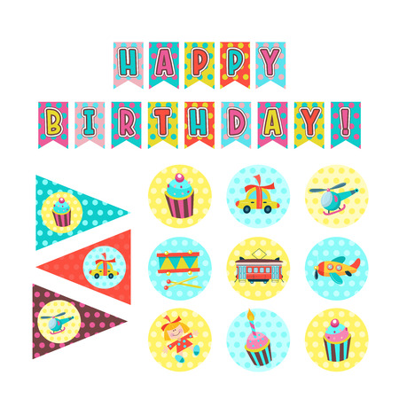 Happy birthday. Set of vector elements for decoration party birthday. Flags, stickers with the image of cakes with candles, toys, gifts.