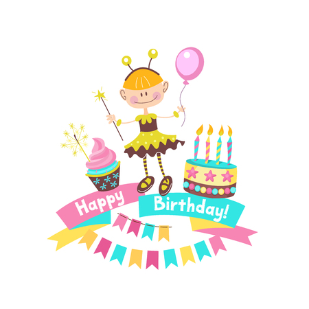 Happy Birthday Greeting Cards Cake With Candles Ribbons Balloons