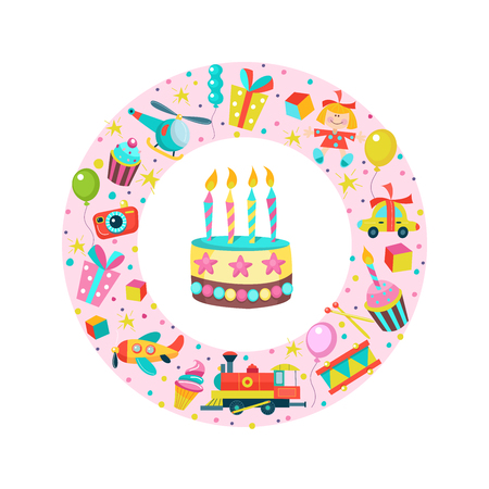 Happy birthday. Greeting cards. Set of vector cliparts oriented in a circle. Toys, gifts, cakes with candles, confetti.