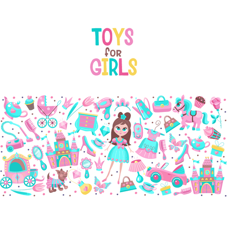 Vector illustration. Toys and accessories for girls. In pink. A large set of cliparts. Convertible, Princess dress, fairy castle, doggy, furniture, dishes, stroller and more for little princesses.