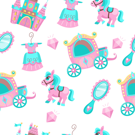 Seamless pattern on a white background. In pink and blue color. Fabulous accessories. Carriage for Princess, medieval castle, pink pony, diamonds, mirror in a beautiful frame, beautiful dress. Illustration