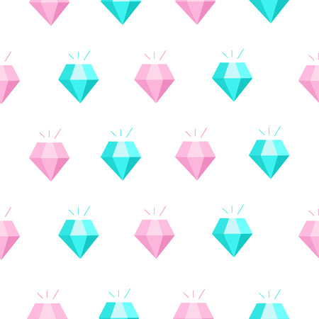 Seamless pattern on a white background. Pink and blue diamonds. Illustration