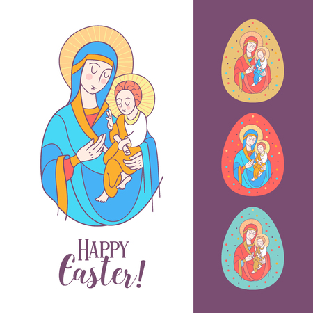 The virgin and Jesus Christ. Festive vector illustration. Set of Easter eggs with the image of the virgin Illusztráció