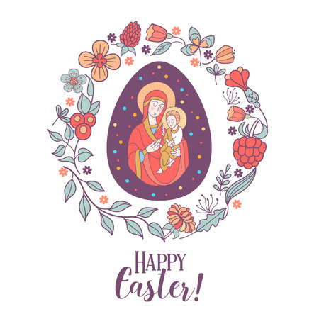 Easter egg depicting virgin Mary with Jesus in her arms framed by a floral wreath. Illustration