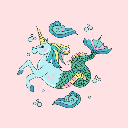 Horse with a horn and a fish tail vector illustration.