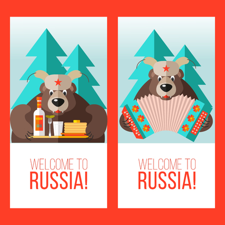 Welcome to Russia poster design set