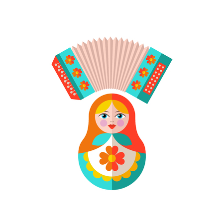 Russian accordion and a Russian doll icon