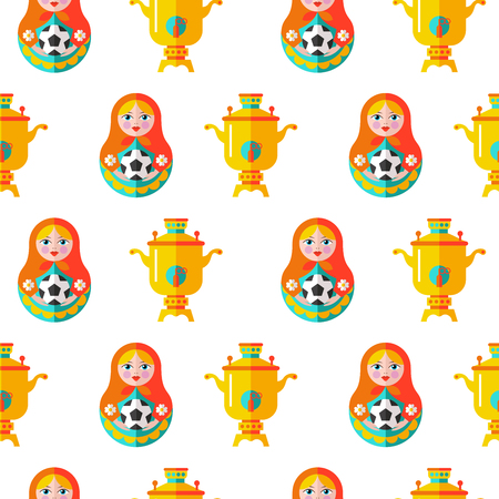 Russian matryoshka with a soccer ball seamless pattern. Çizim